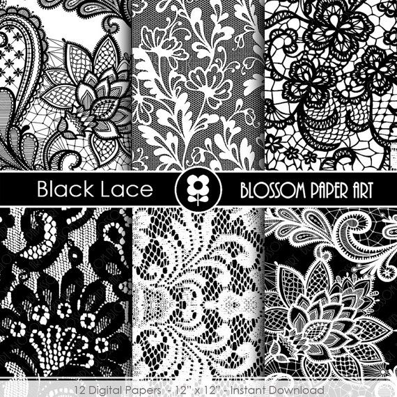 Black Lace Digital Paper Black Scrapbooking Digital Paper