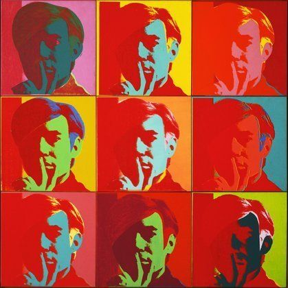 Andy Warhol- Self Portrait 1966, Silkscreen ink on synthetic polymer paint on nine canvases, each 22 1/2 x 22 1/2. The Museum of Modern Art, New York.
