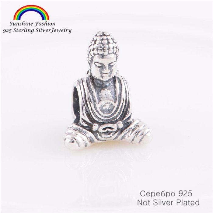 Pure 925-Sterling-Silver Buddha Religion Thread Beads Fits Pandora Chamilia Charms Bracelet  Women DIY Jewelry Making