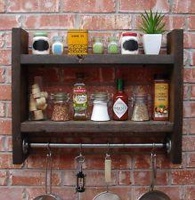 Industrial Rustic Wall Shelf Spice Rack w/ Pot Rack + Hooks - Handmade Item