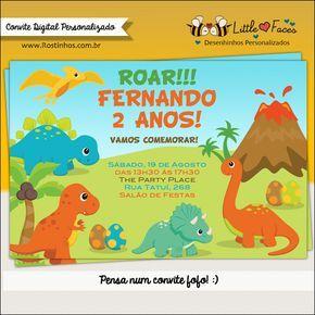 Convite Festa Dinossauro para Imprimir | Little Faces