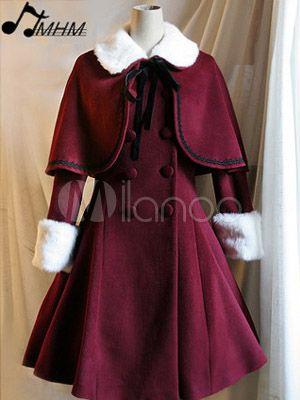 [165,75€] Pardessus lolita en laine voilée, double poitrine, rouge