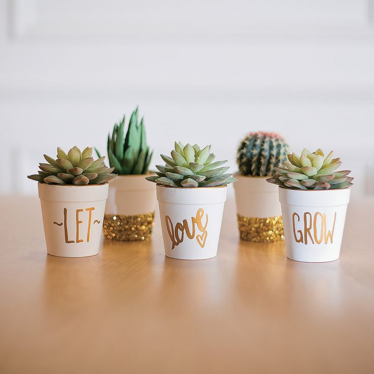 """Let Love Grow Flowerpots Idea   Looking for a quick DIY project? You can't """"grow"""" wrong with these do it yourself flowerpots! Add small plants to make unique gifts. #DIY"""