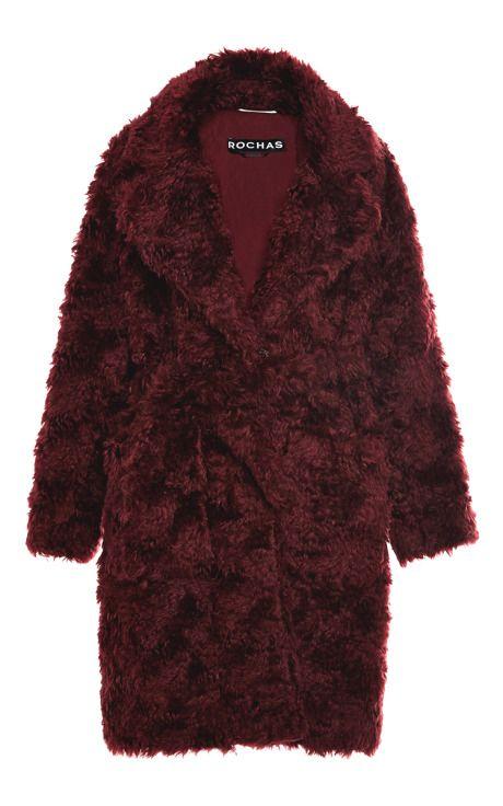 Dark Red Teddy Bear Coat by Rochas for Preorder on Moda Operandi