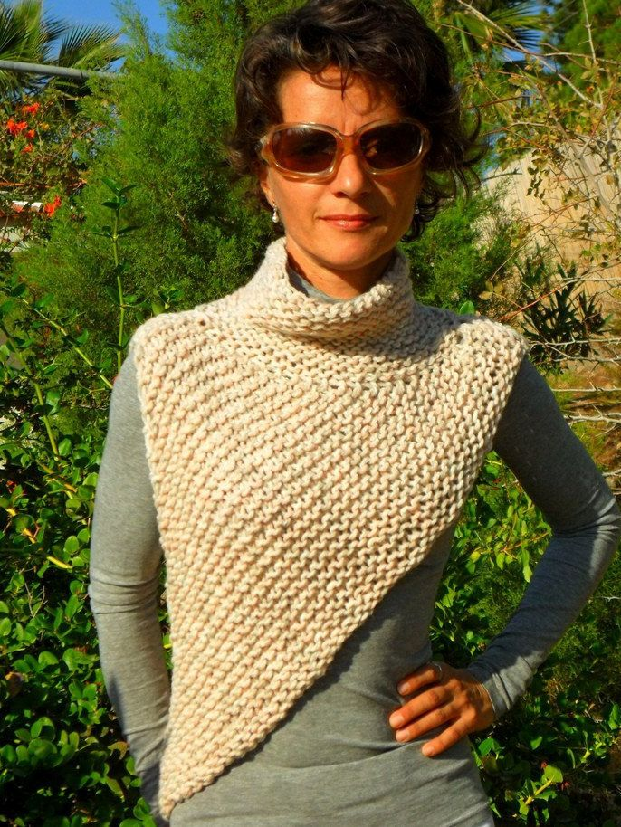Soft colours, original, hand knitted asymmetric vest / shrug by SimonaStyleByHand on Etsy