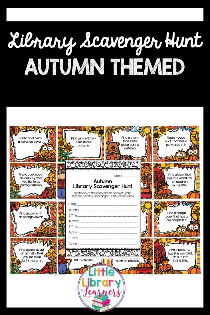 Need a fun fall activity for the library? These Library Scavenger Hunt Task Cards have a fun autumn theme. A simple but effective activity that gets students engaged in locating information within their library.