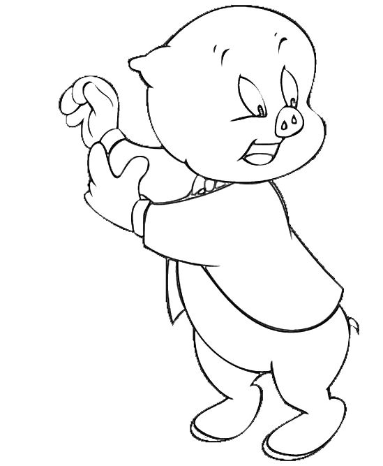 Porky Pig Surprise Coloring Pages Looney Tunes Cartoon Porky Pig Coloring Pages