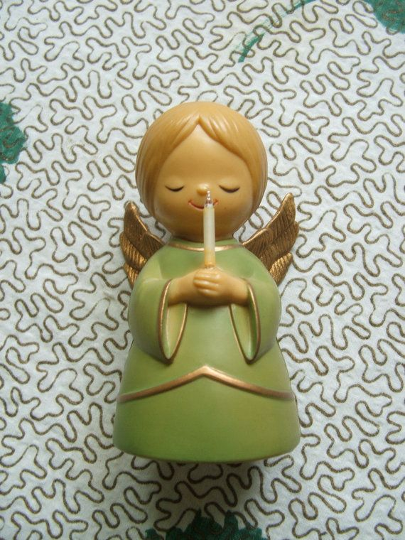 Vintage Plastic Angel with candle light Hong by