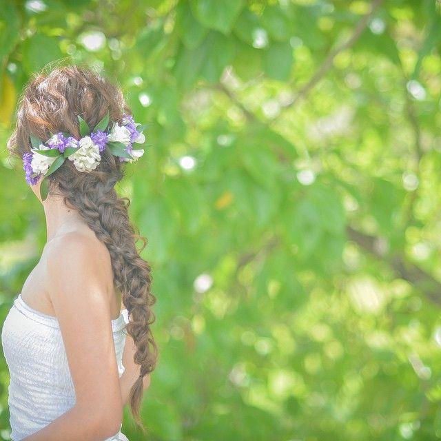 しっかりめに編んだ編み編みヘア Photo by ken #hawaii#hairmake#weddinghair#hawaiihairmake#bride#TerraceByTheSea#TheTerraceByTheSea#TAKAMIBRIDAL#ハワイウェディング#ハワイヘアメイク#ヘアメイク#ヘアスタイル#プレ花嫁#ウェディング#波ウェーブ#フィッシュボーン#編み込み#ラプンツェル風