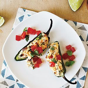 Grilled Stuffed Jalapeños - Only 56 calories for 2 pepper halves | CookingLight.com