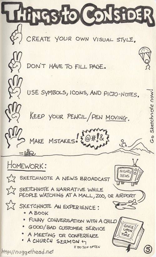 """You don't have to fill the whole page"" --This is something I'd like to remember. I always feel I *need* to fill a whole page. Previous Pinner:: sketchnote_pg5_500x820"
