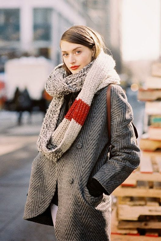 Street Style | Cozy in Herringbone Coat with Cream & Red  Knit Scarf  | | { Couture /// Runway Every Day 2