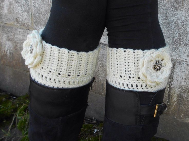 Ivory Boot Cuff with Interchangeable Flowers in Ivory, Pumpkin Orange and Seafoam - Crocheted Cream Boot Socks with Flowers - Legwear by NobleCharacterCrafts on Etsy https://www.etsy.com/listing/204875896/ivory-boot-cuff-with-interchangeable