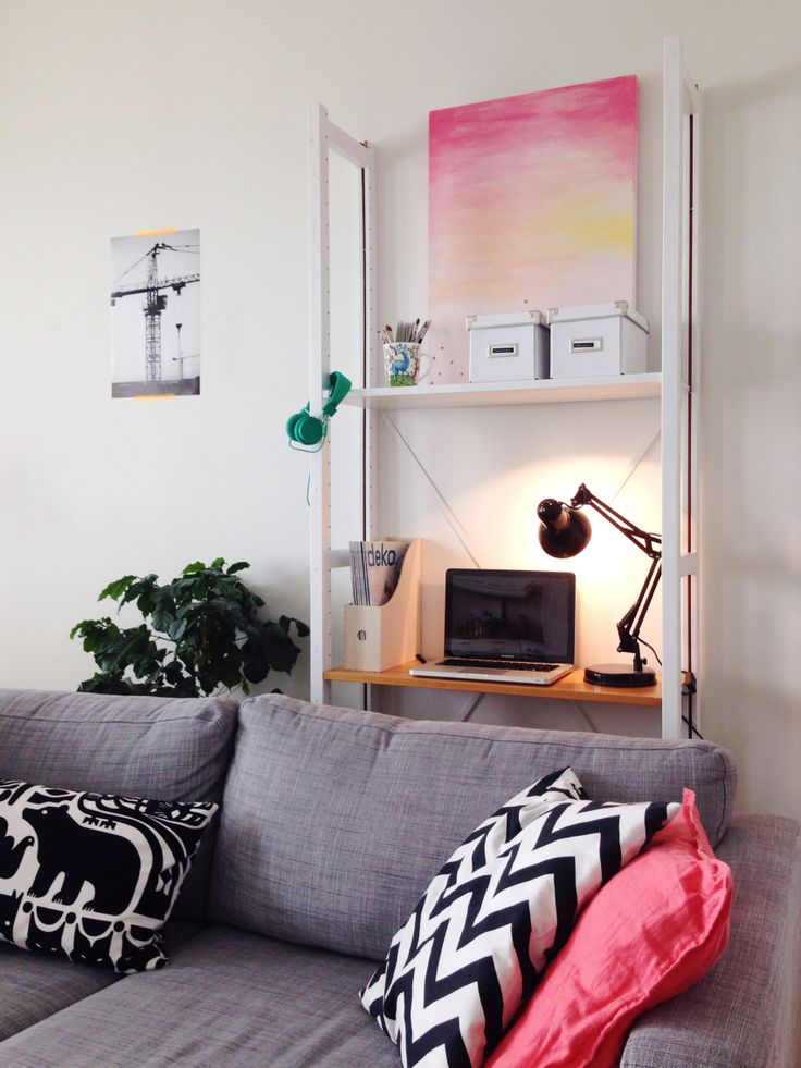 New arrangement in our living room. Lundia shelf is also functional working space.
