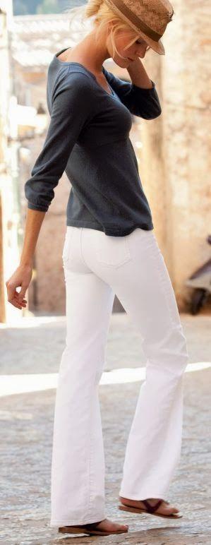 Calça branca + cinza