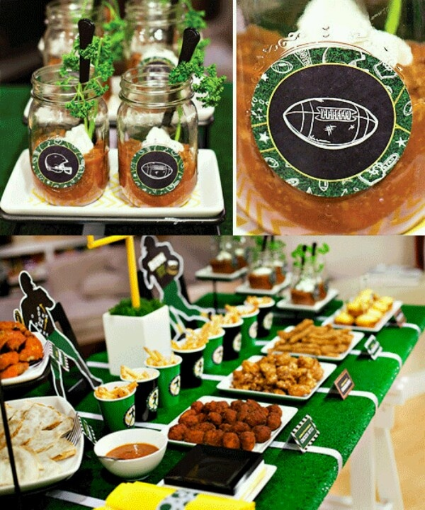 Football themed party food. Great looking table for a party.