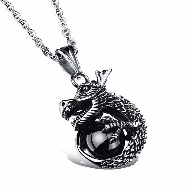 Оптовые ювелирные изделия цепь прохладный мужские аксессуары Из Нержавеющей стали Китайский дракон кулон ожерелья украшены подарок GX1002