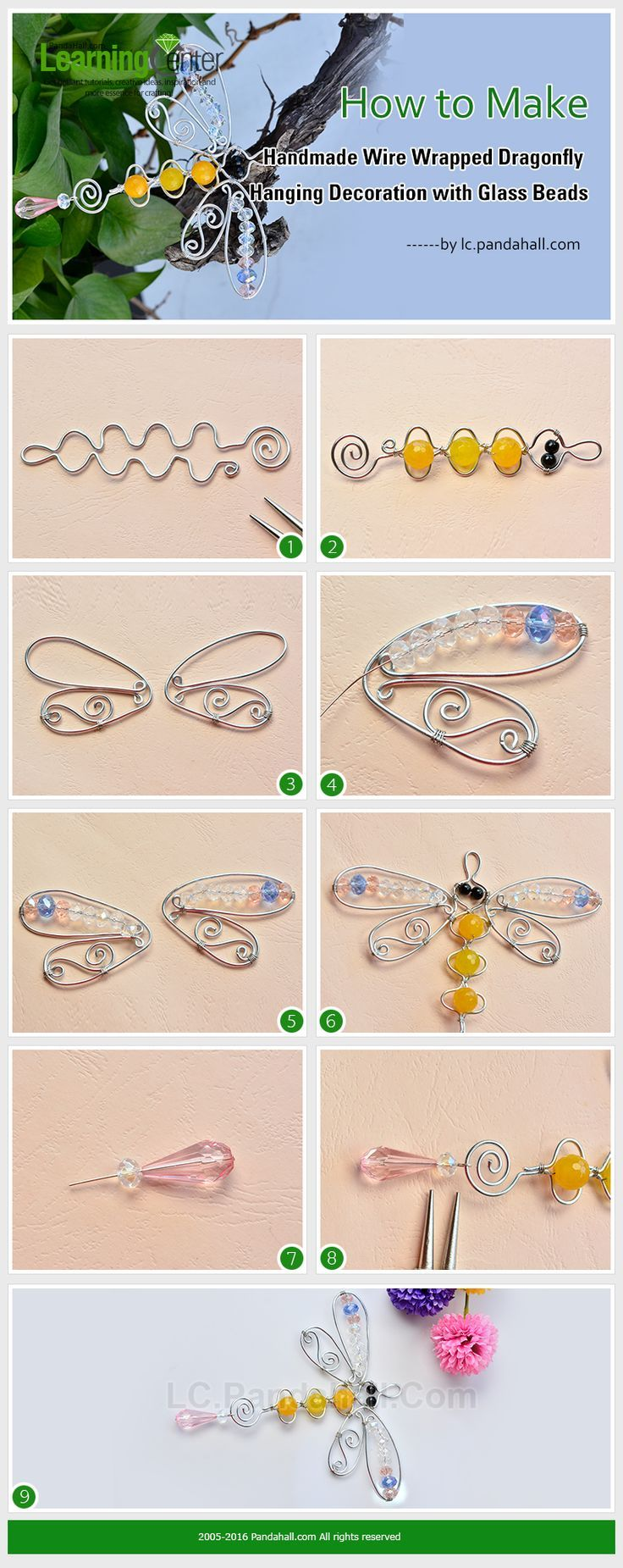 How to Make Handmade Wire Wrapped Dragonfly Hanging Decoration with Glass
