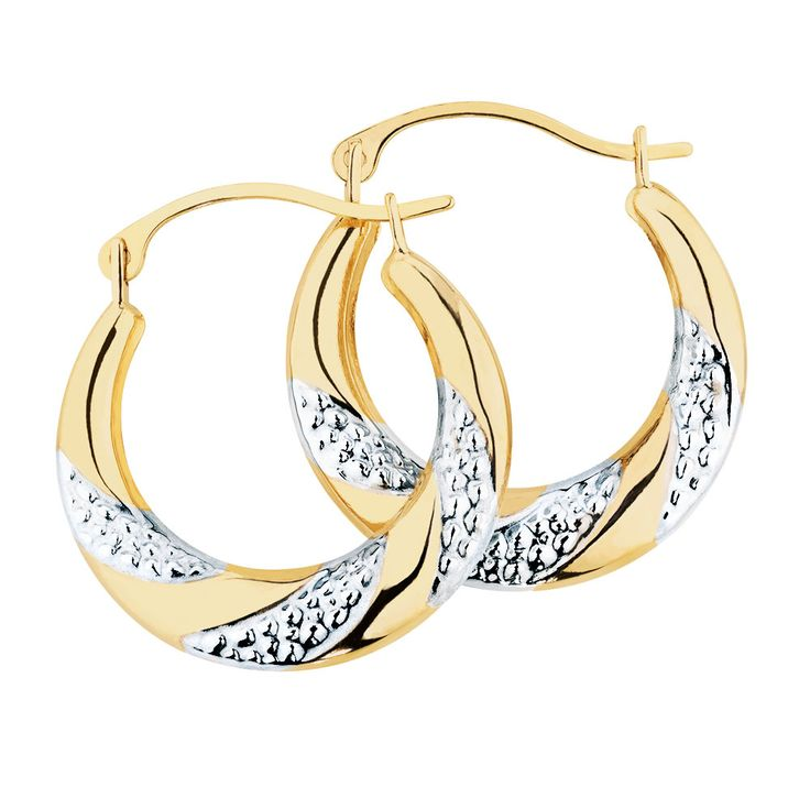 These dainty hoop earrings have been created in twisting 10ct yellow and white gold for a lovely effect. Sure to add just the right amount of shine, these earrings are equally beautiful dressed up or down.