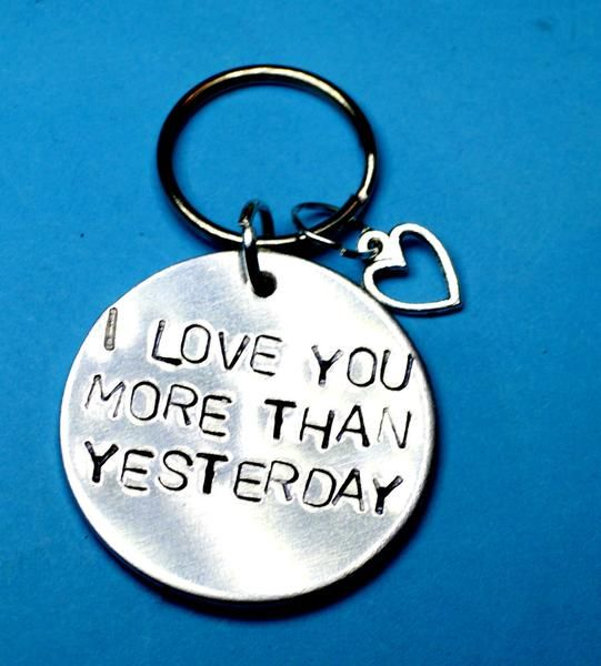 I love you more than yesterday - romantic keychain   Perfect boyfriend gift idea! Surprise you hubby! Get a perfect quirky present on your anniversary for girlfriend!