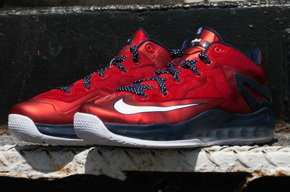 the best attitude 6780c 3fd20 Independence Day Nike LeBron 11 Low USA 642849 614 University Red Obsidian  White