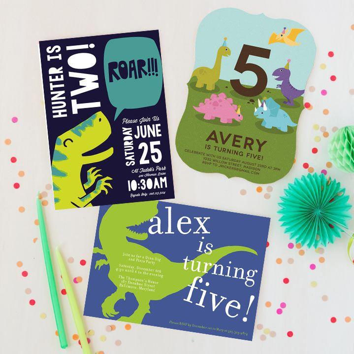 children s dinosaur themed birthday invitations from minted