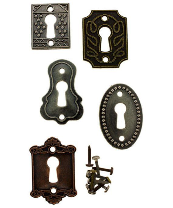 Tim Holtz Metal Embellishments /& Findings Tim Holtz Idea-ology Keyholes Locks