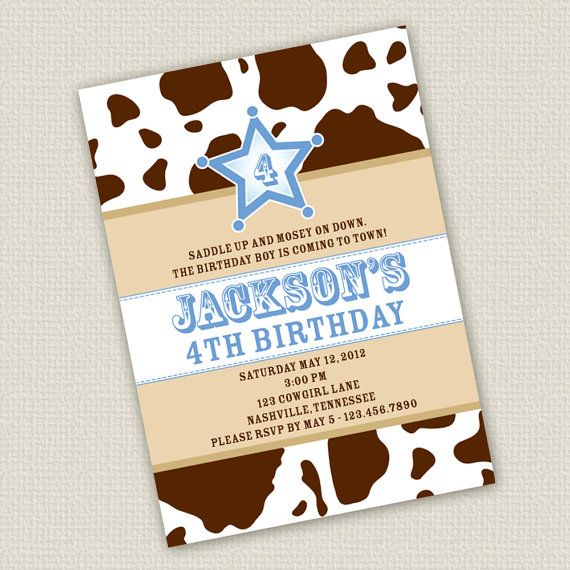 Printable Cowboy Birthday Invitation by SweetNSnappyDesigns, $15.00