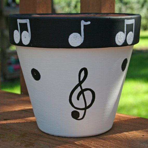 Music 6Inch HandPainted Flower Pot FREE SHIPPING by hotgluemama, $22.00
