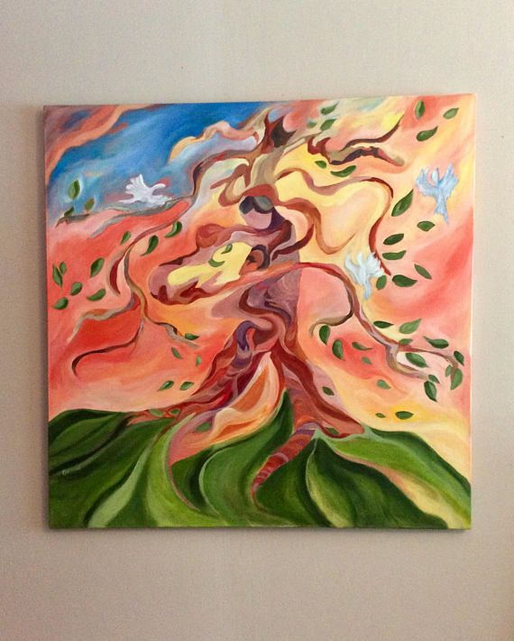Tree full of life 36 x 36 inches original acrylic painting on