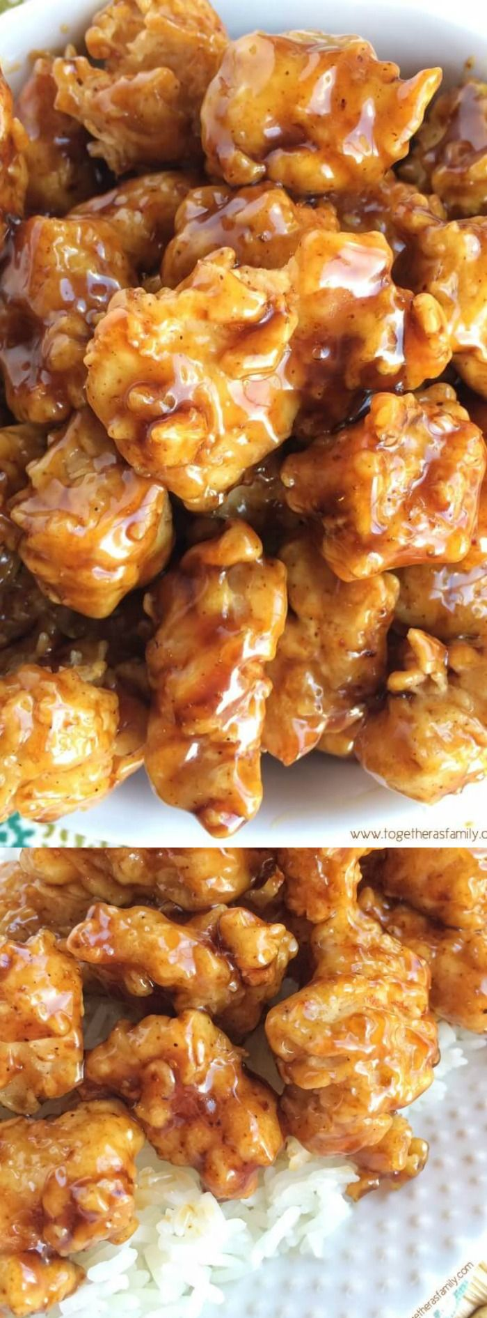 This Crispy Honey Chicken from Together as Family turns out so incredible and delicious! The chicken gets coated in seasoned flour and then dipped in buttermilk and fried until super crispy.
