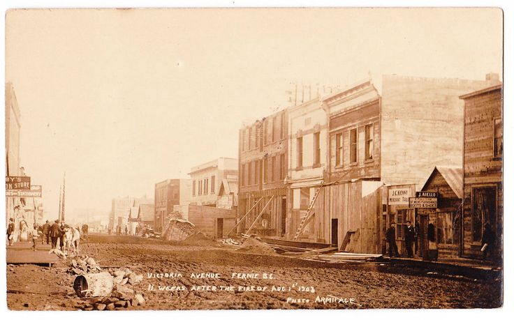 BC – FERNIE, Victoria Ave. 11 Weeks After the Fire of 1908, Armitage c.1908 RPPC