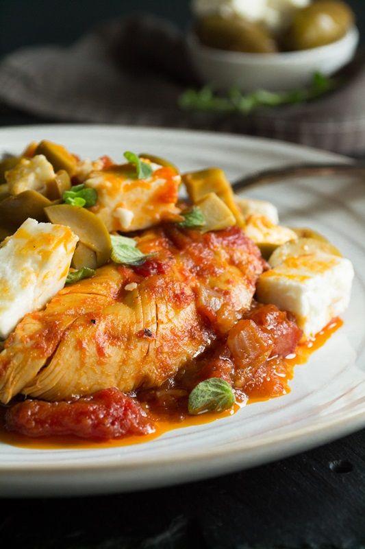 Κοτόπουλο με ελιά και φέτα