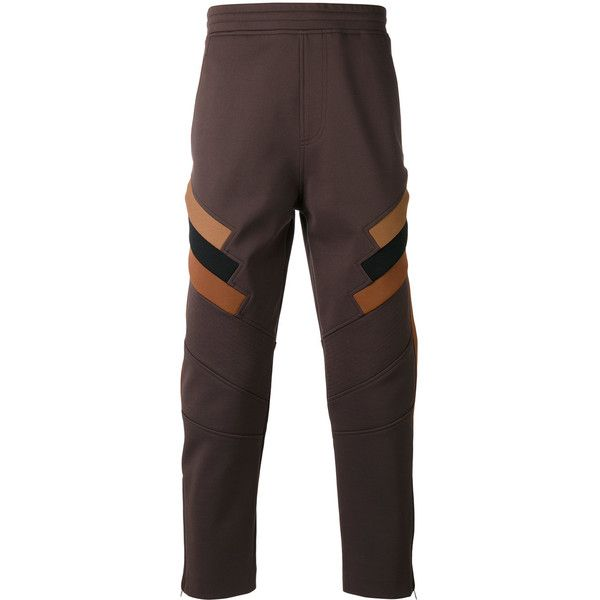Neil Barrett fitted trousers (€825) ❤ liked on Polyvore featuring men's fashion, men's clothing, men's pants, men's casual pants, brown, mens loose fit cargo pants, mens elastic waistband pants, mens stretch waist pants, mens elastic waist pants and mens brown pants