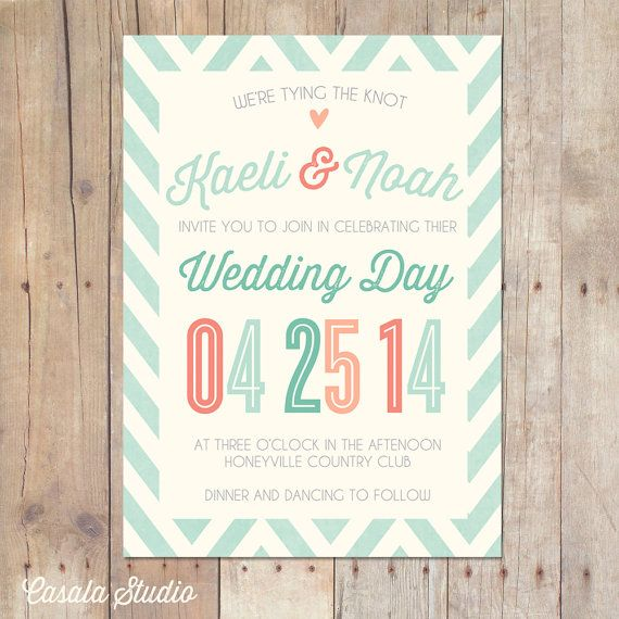 Whimsical Rustic Mint Peach Coral Turquoise Wedding Invitation