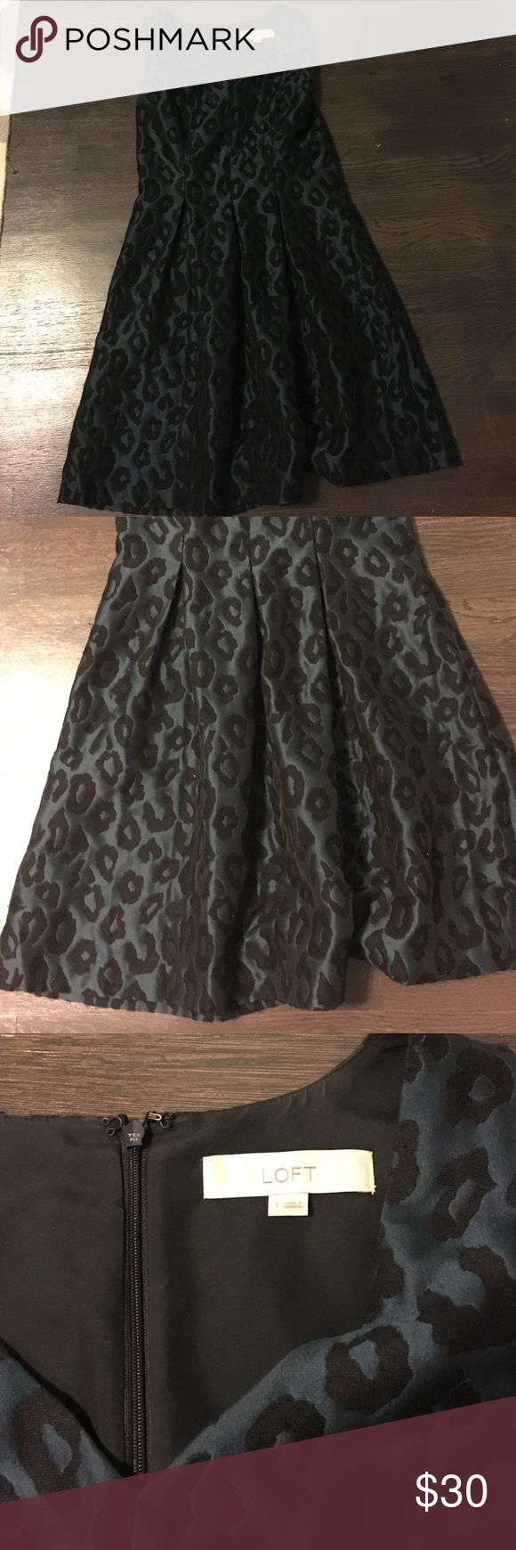 Stylish Ann Taylor loft dress Cheetah print in dark green and black!! Back zipper. LOFT Dresses