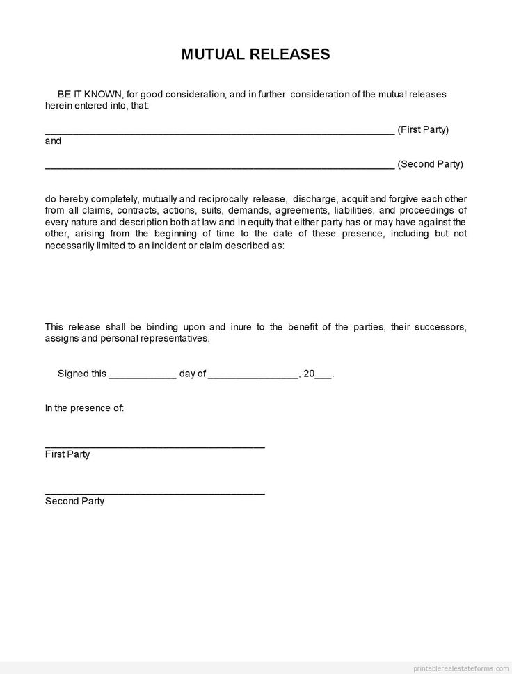 estate release form Sample Conditional Release Form. Material Release Form Copyright ...