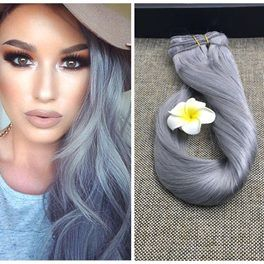 "24"" Clip In #Silver Grey Human Hair Extensions-100g-7pcs 