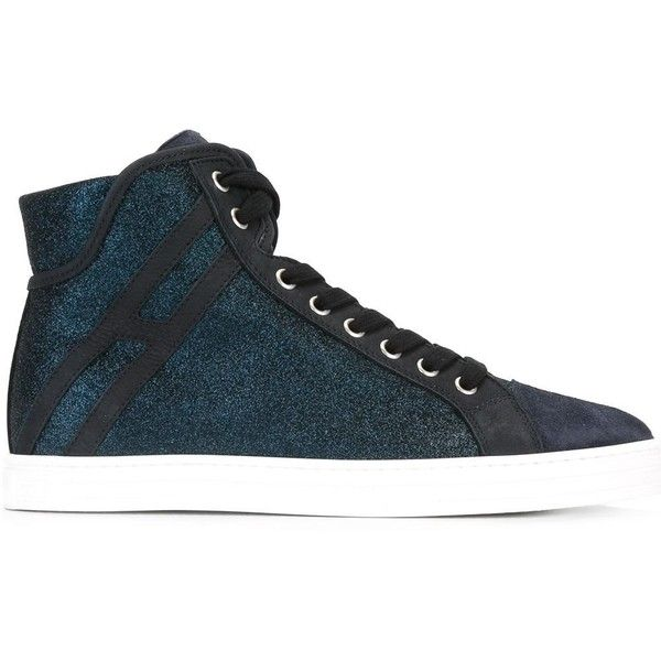Hogan lace up trainers ($288) ❤ liked on Polyvore featuring shoes, sneakers, blue, lace up shoes, hogan sneakers, leather lace up shoes, genuine leather shoes and leather sneakers