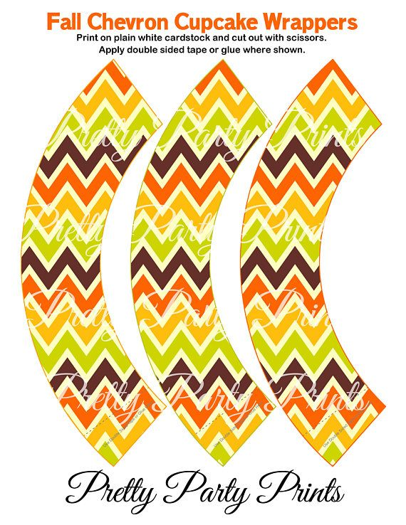 Fall Chevron Cupcake Wrappers Holiday Party Printable Digital