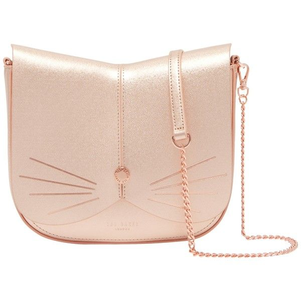 Ted Baker Kittii Cat Leather Across Body Bag ($170) ❤ liked on Polyvore featuring bags, handbags, shoulder bags, rose gold, leather hand bags, shoulder handbags, man leather shoulder bag, leather man bags and leather crossbody handbags