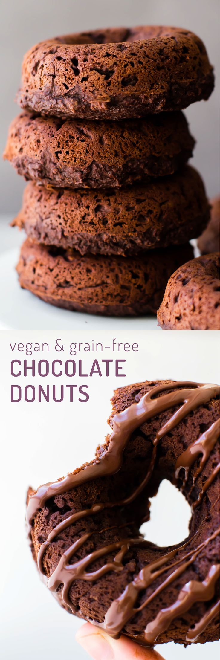 The soft fluffy texture of cake and the chocolatey richness of a brownie combine in these delicious and healthy grain-free donuts--not for the faint of chocolate heart!