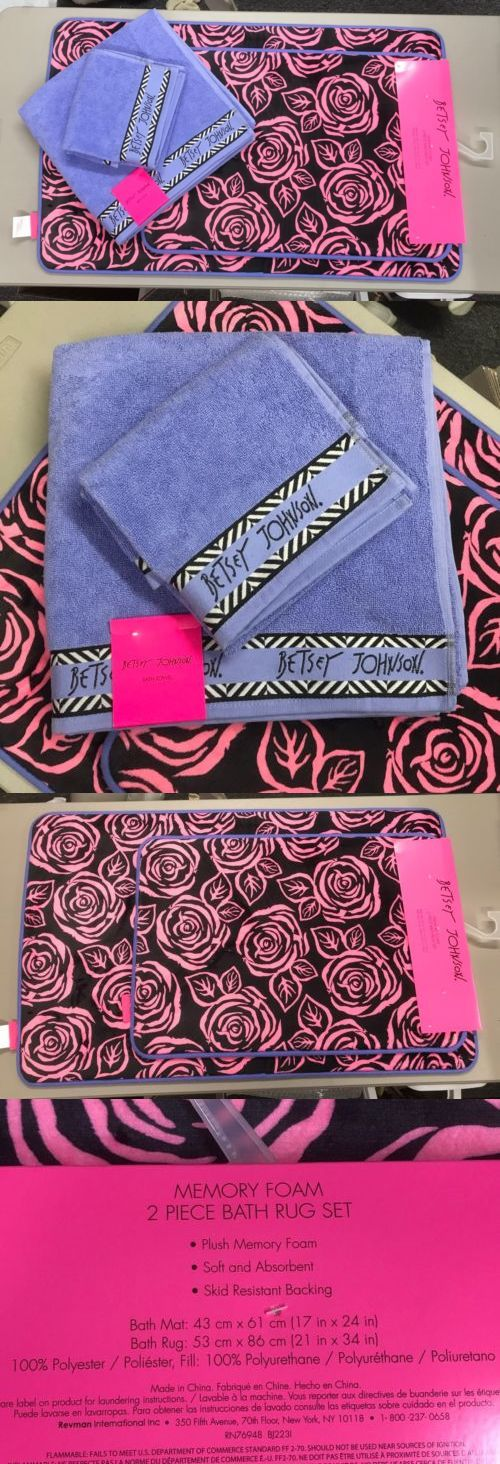 Bathmats Rugs and Toilet Covers 133696: 2 Betsey Johnson Pink Purple Floral Memory Foam Bath Mat Rug And Towels -> BUY IT NOW ONLY: $57.77 on eBay!