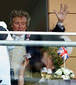 Sir Rod Stewart and Penny Lancaster watch the racing as they attend day 2 of Royal