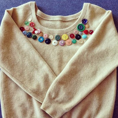 Buttons on a plain jumper. Piece of Cake!
