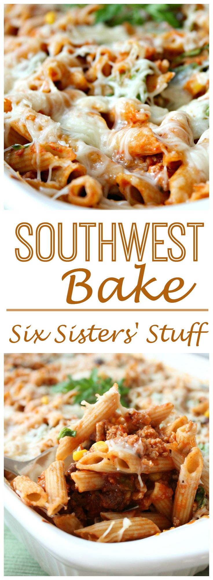 Southwest Pasta Bake on Sixsistersstuff.com - Great Freezer Meal!