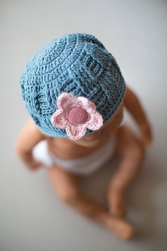Crochet baby hat, Blue baby hat, Baby hat with flower, baby girl hat