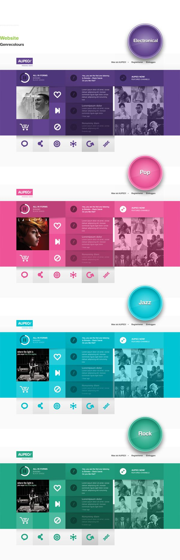 AUPEO! Personal Radio: by Rene Bieder: Branding, Interaction Design #web #website