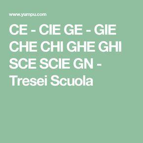 CE - CIE GE - GIE CHE CHI GHE GHI SCE SCIE GN - Tresei Scuola