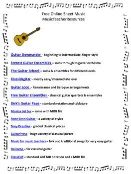 FREE Online Sheet Music Sites  FIVE pages of links to free sheet music PDF downloads.